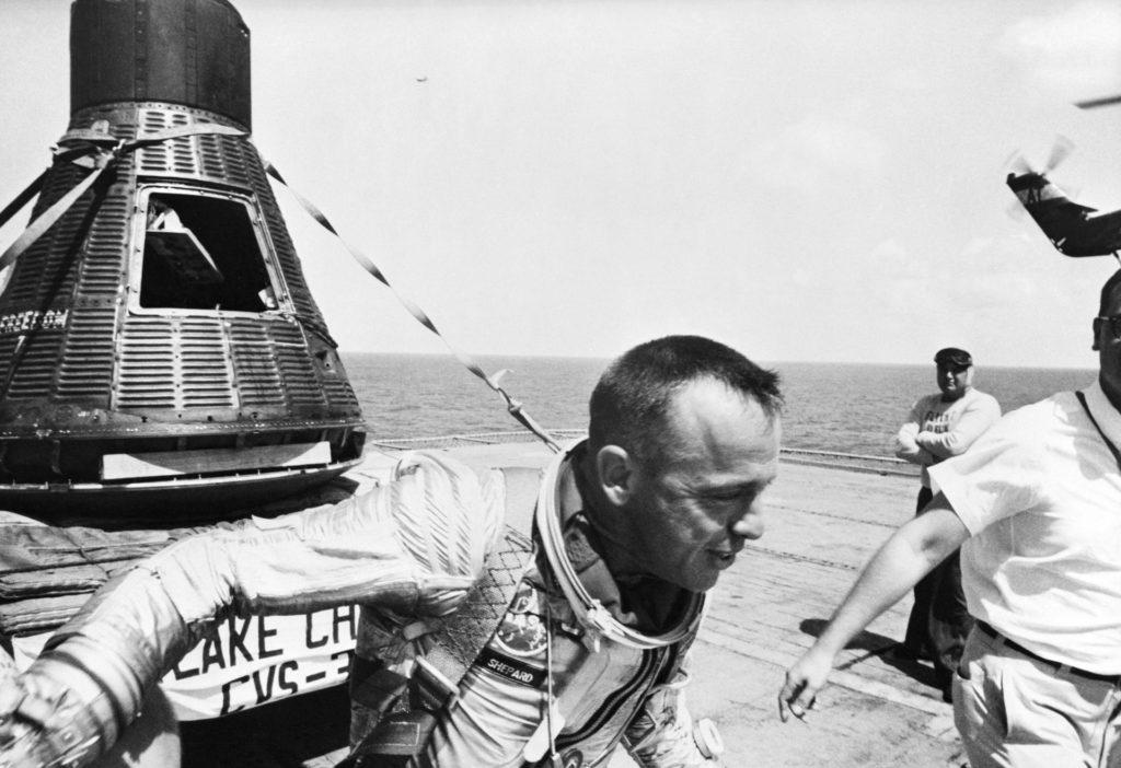 Astronaut Alan Shepard - U.S.S. Champlain - Post-Recovery Mercury Capsule
