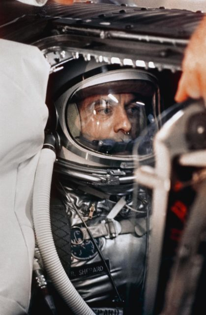 View of Astronaut Alan Shepard inside the Freedom 7 capsule