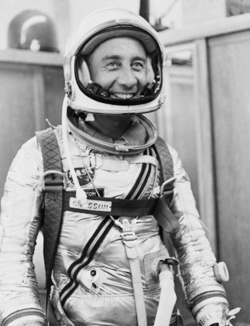 Astronaut Grissom dons spacesuit for Mercury-Redstone 4 mission