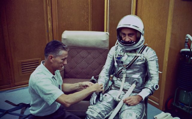 Astronaut Grissom dons spacesuit for Mercury-Redstone 4 mission