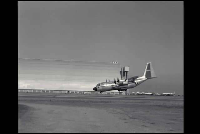Lockheed NC-130B (AF58-712) Aircraft.  A Study of STOL Operational Techniques; landing approach. Nose-low pitch attitude of the aircraft was required in wave-off (or go-around) at 85 knots with flaps 70 degrees. An increase in stall-speed margin could be required to produce a more positive climb angle. (Nov 1962) Note:  Used in publication in Flight Research at Ames;  57 Years of Development and Validation of Aeronautical Technology NASA SP-1998-3300 fig. 104; 60yrs at Ames, Atmosphere of Freedom NASA SP-2000-4314 ARC-1961-A-28249