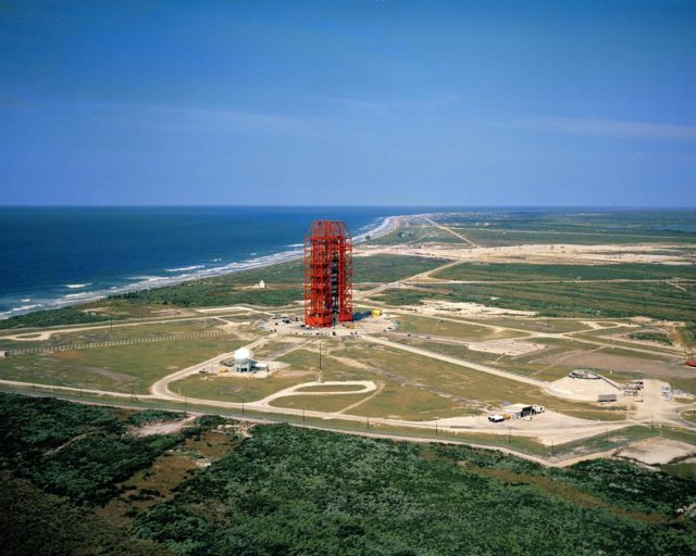 CAPE CANAVERAL, Fla. – Aerial photo, Pad 34 overall, low-level from south. CCMTA, NASA-LOD.    Photo credit: NASA KSC-LOD-61C-1699