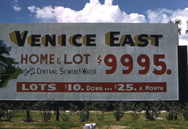 Cowan Construction Company billboard: Venice East, Florida