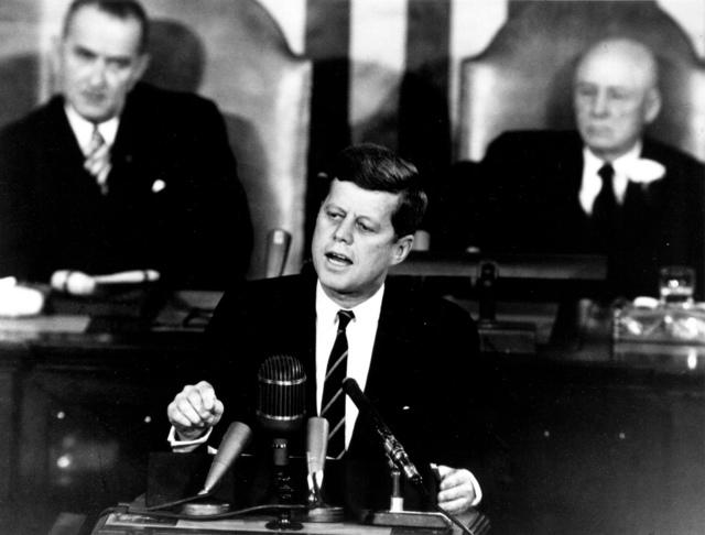 Kennedy Giving Historic Speech to Congress