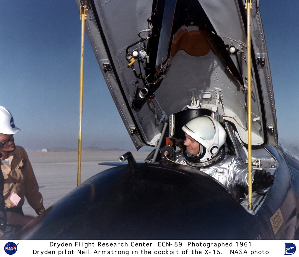Pilot Neil Armstrong in the X-15 #1 cockpit