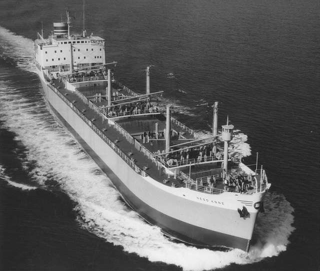 The bulk carrier 'Nego Anne' from the air