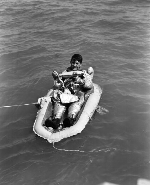 Astronaut Walter Schirra during water egress training