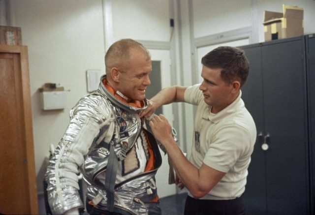 Astronaut John Glenn is suited up at Cape Canaveral during MA-6 activities
