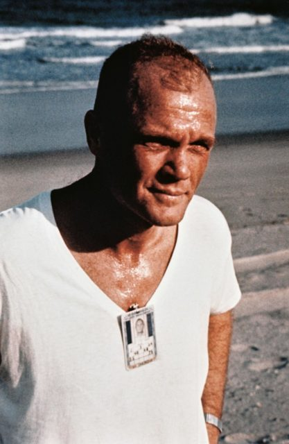 Astronaut John Glenn running as part of physical training program