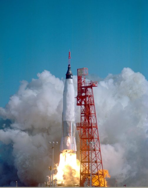 CAPE CANAVERAL, Fla. -- Launch of Friendship 7, the first manned orbital space flight. Astronaut John Glenn aboard, the Mercury-Atlas rocket is launched from Pad 14. Photo credit: NASA KSC-62PC-0009
