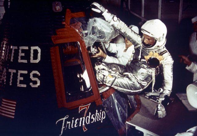 Mercury Project Astronaut John Glenn enters the Mercury spacecraft, Friendship 7