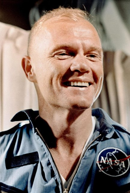 CAPE CANAVERAL, Fla. - S62-00914 1962) Astronaut John H. Glenn Jr., pilot of the Mercury-Atlas 6 spaceflight, relaxes aboard the carrier U.S.S. Randolph following his Earth-orbital mission. Glenn was transferred to the Randolph from the U.S.S. Noa after his return from his Earth-orbital mission. Photo Credit: NASA KSC-MA6-39