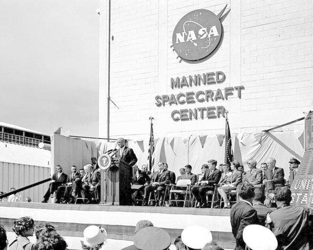 CAPE CANAVERAL, Fla. -- President John F. Kennedy honors John H. Glenn Jr. at Hangar S, Cape Canaveral, Florida, after his historic three-orbit mission aboard Friendship 7. Photo credit: NASA KSC-PL62-76870