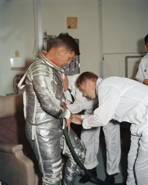 Astronaut Walter Schirra during suiting-up exercise prior to MA-8 flight