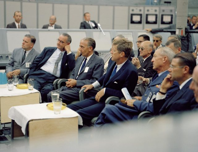 CAPE CANAVERAL, Fla. -- In the blockhouse of Launch Complex 34 at the Cape Canaveral Missile Test Annex in Florida, President John F. Kennedy is briefed on NASA's future plans. Seated, from the left, are NASA Administrator James E. Webb, Vice President Lyndon B. Johnson, Launch Operations Center Director Kurt H. Debus and Kennedy. Photo Credit: NASA KSC-62C-1443