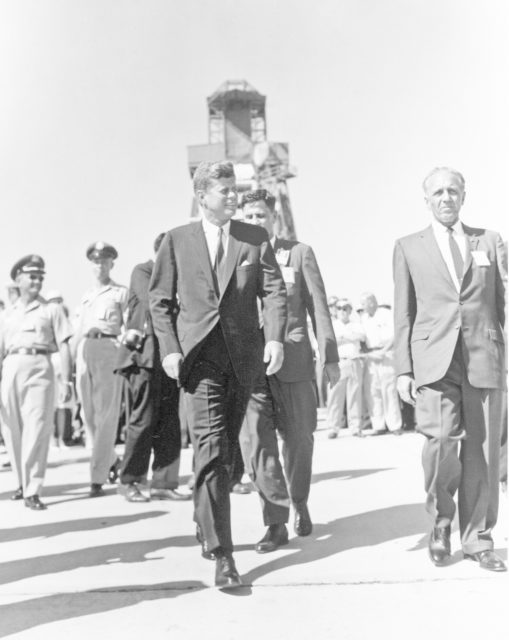 CAPE CANAVERAL Fla. -- President John F. Kennedy is escorted by Launch Operations Center Director Dr. Kurt H. Debus, on the right, on a tour of Launch Complex-14 at the Cape Canaveral Missile Test Annex in Florida. Photo Credit: NASA KSC-LOC-62-7018