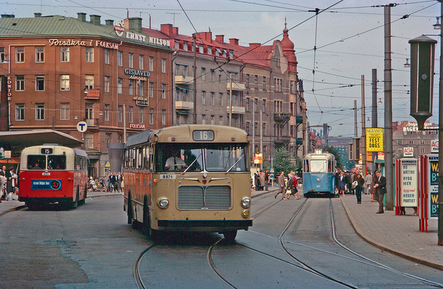 Buses and tram at Odenplan in Stockholm 1962