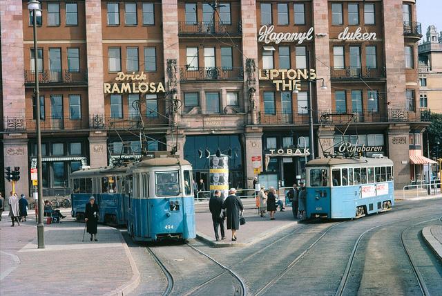 Trams at Tegelbacken in Stockholm 1962