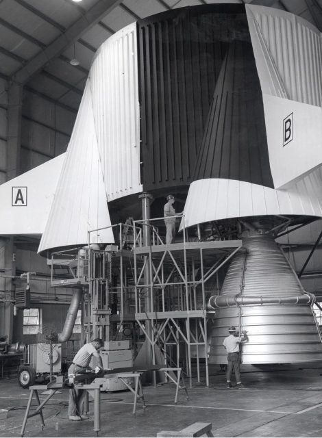 Saturn Apollo Program - working on a mock up of the S-IC thrust structure