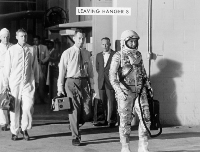 "Astronaut Walter Schirra leaves Hanger ""S"" prior to MA-8 flight"