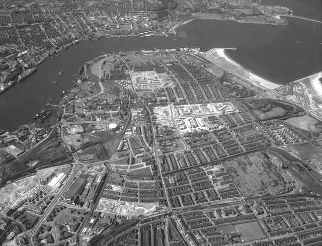 Aerial view of South Shields looking north, 1970
