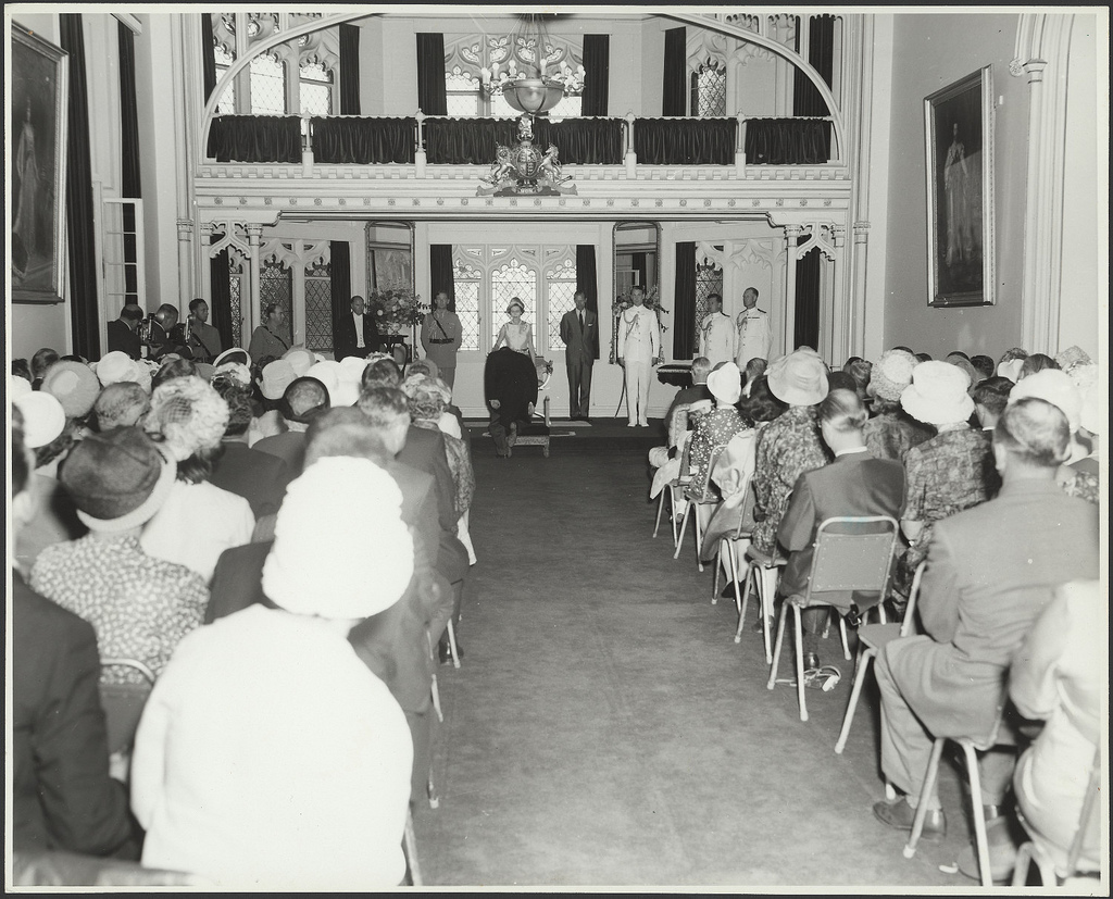 Royal visit 1963 - Investiture held by H.M. Queen at Government House, Sydney NSW