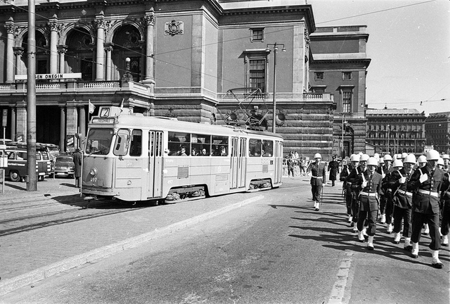 Tram in Stockholm passing the Royal guard on there way to the Royal palace in 1963