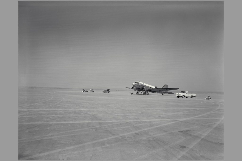 R4D-6 (Bu. No. 99827 NACA 18, NASA 701).  TAKE-OFF MONITOR TEST, EDWARDS AIR FORCE BASE.  Gunsight Tracking and Guidance and Control Displays.  Note:  Used in publication in Flight Research at Ames;  57 Years of Development and Validation of Aeronautical Technology NASA SP-1998-3300 fig 76 ARC-1969-A-33200-4