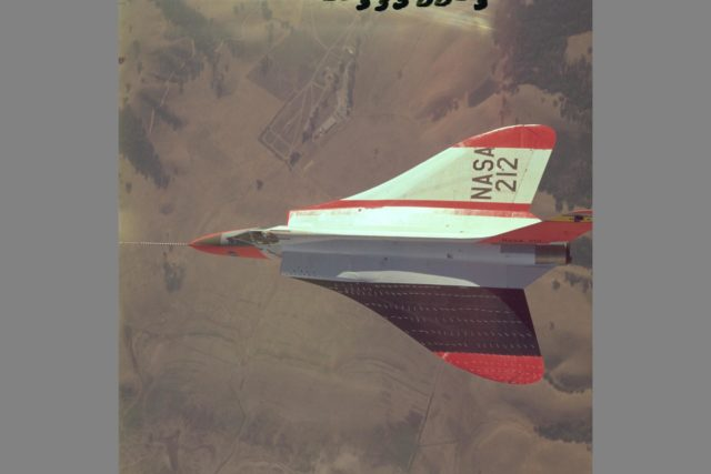 Douglas F5D Skylancer fighter modified with ogee wing planform designed for Mach 2 flight. Shown is the effect of vortex flow on wing tuft alignment in low-speed,  high angle-of-attack flight. ARC-1964-AC-33500-3