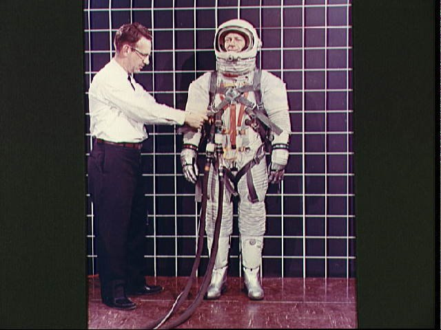 Space suit A-3H-024 with Lunar Excursion Module astronaut restraint harness