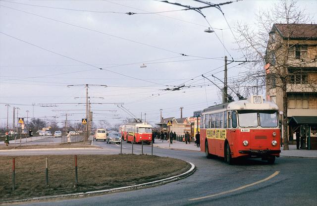 Trolley buses at Gullmarsplan in Stockholm 1964