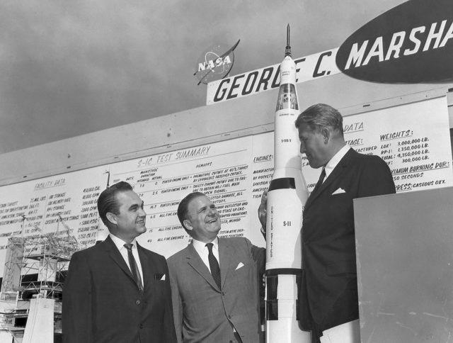 Wernher von Braun and Governor of Alabama George Wallace