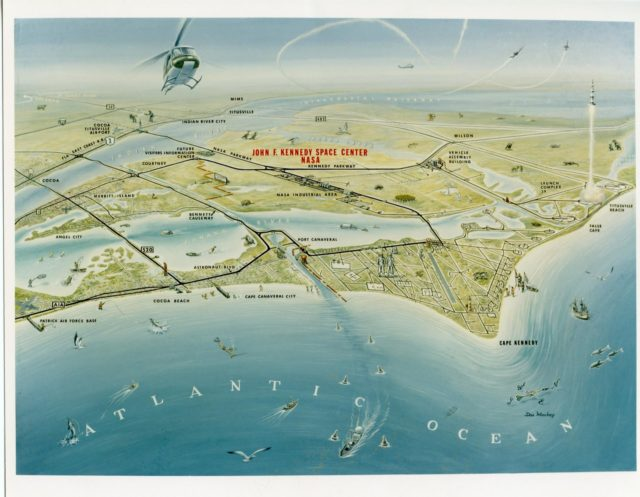 CAPE KENNEDY, Fla. -- This artist's rendering depicts Florida's Space Coast where NASA's two-man Gemini Program is paving the way for manned flight to the moon before the end of the decade. Adjacent to Cape Kennedy Air Force Station is Merritt Island where facilities are being built at the John F. Kennedy Space Center to launch the Saturn V rockets for the Apollo Program. Image Credit: NASA KSC-65C-4228