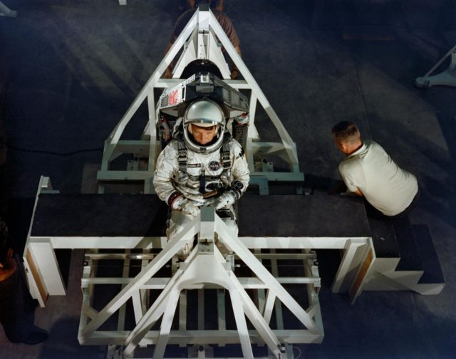 Astronaut Walter Schirra during weight and balance test