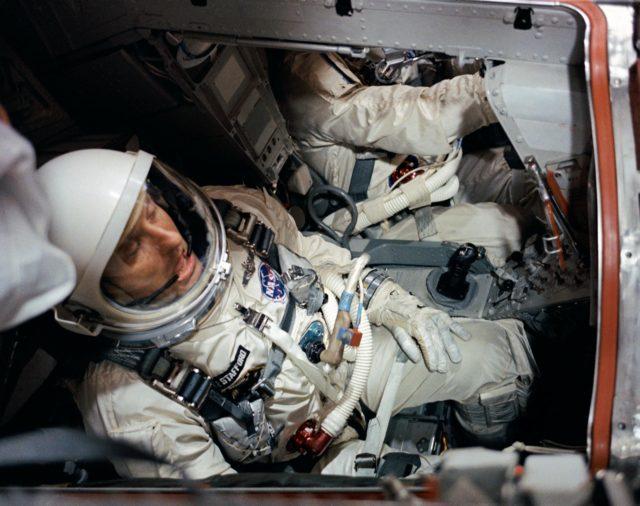 (GEMINI-TITAN [GT]-6 PREFLIGHT ACTIVITY) (PILOT INSIDE SPACECRAFT) - ASTRONAUT THOMAS P. STAFFORD - MISC. - CAPE