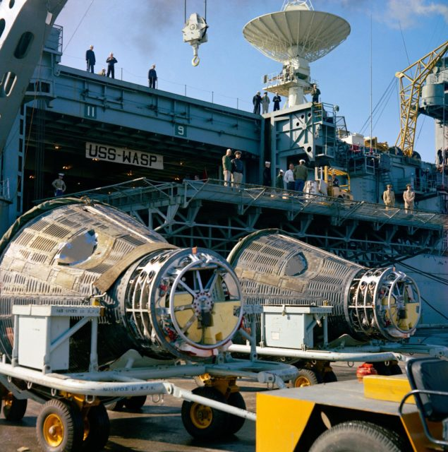 Gemini 6 and Gemini 7 capsules aboard the recovery carrier USS Wasp