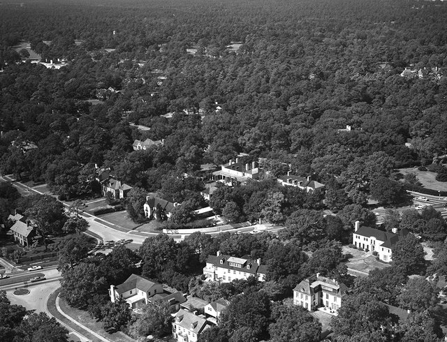 [Aerial View, Theodore Newton Law Residence (Center), Houston, Texas]