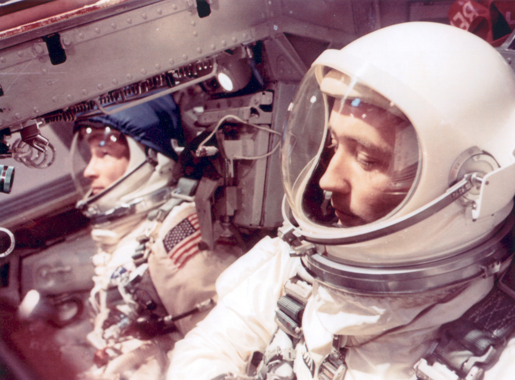 Astronauts White and McDivitt Inside Gemini IV Spacecraft