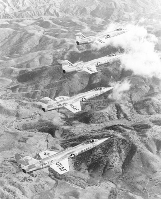Lockheed F-104A 56-748 AFFTC [mfr AP 6411 via RJF]