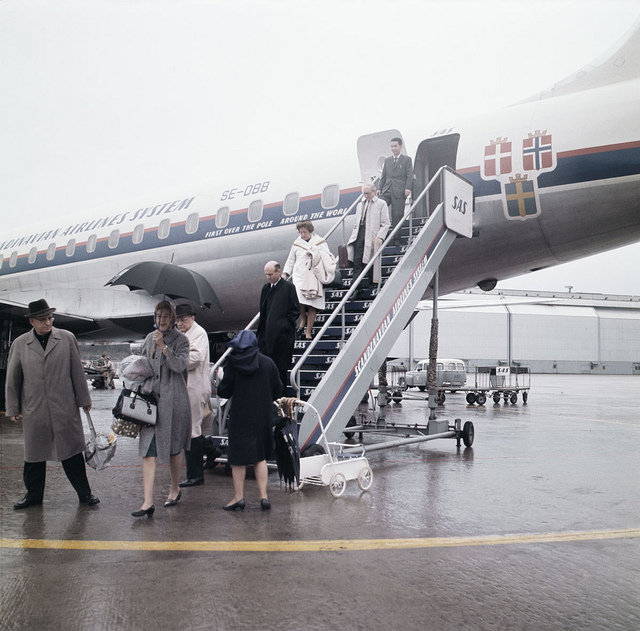 Passengers leaving aeroplane at Arlanda airport in Stockholm about 1965