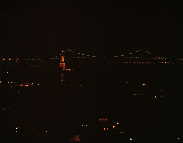 [Statue of Liberty and Lighted Brooklyn Bridge]
