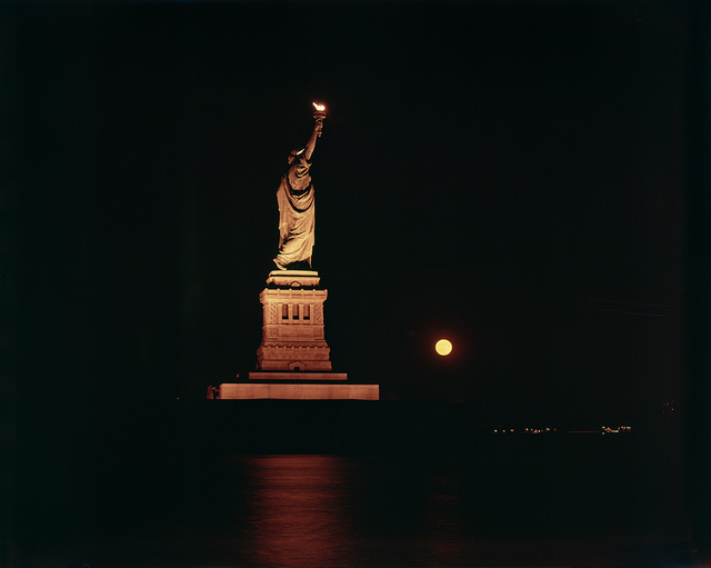 [Statue of Liberty and Rising Moon During Blackout]
