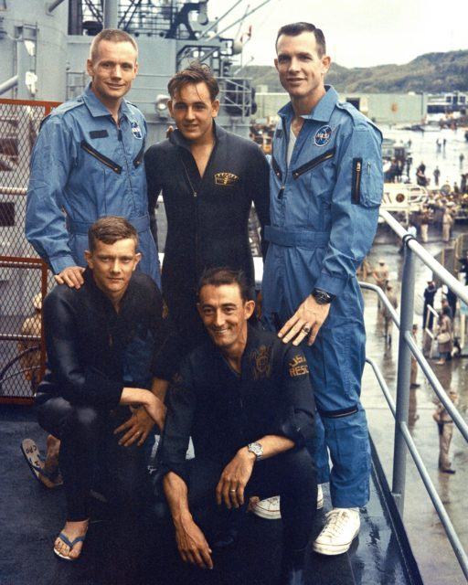KSC-66C-1878 Gemini 8 Astronauts pose with the PARA-RESCUE team. Left-to-right, top: Neil Armstrong, E. M. Neil, David Scott; bottom row: L. D. Huyett and G. N. Moore. (jrs) 104-KSC-66C-1878