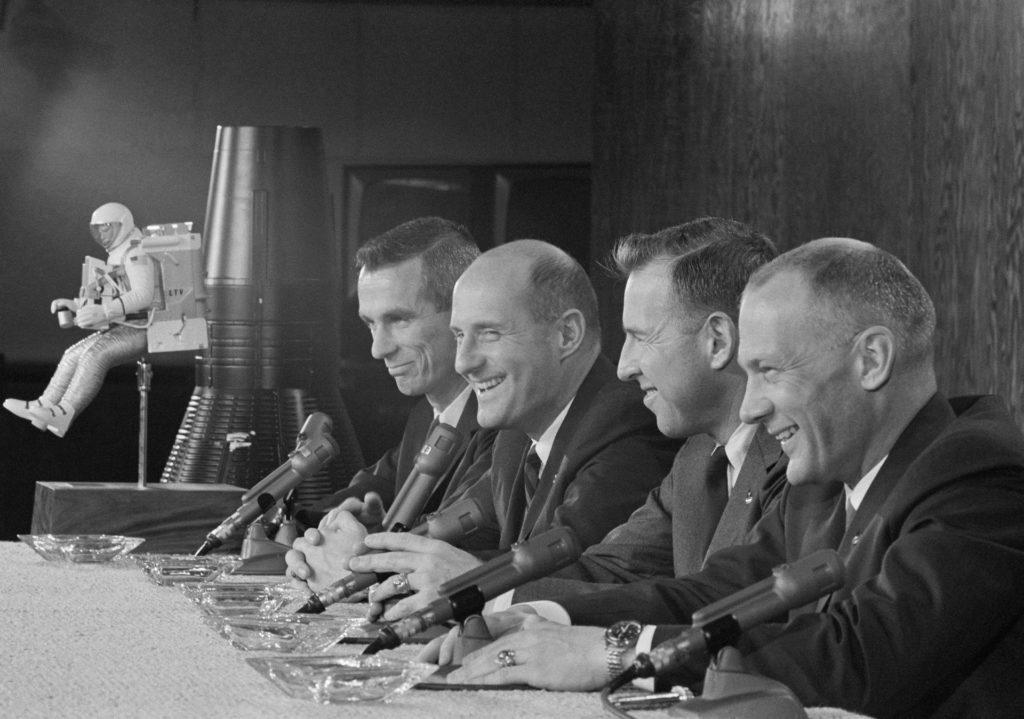 Gemini 9 prime and backup crews during press conference - MSC