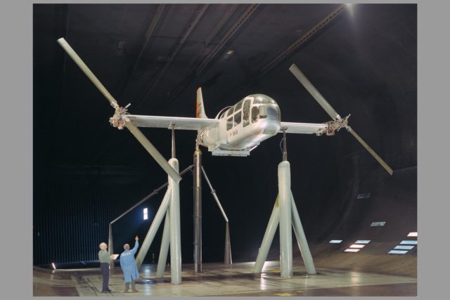 Bell XV-3 Convertiplane in Ames Reseach Center 40x80ft subsonic wind tunnel; Rotor dynamic stability tests ARC-1966-A-37006-5