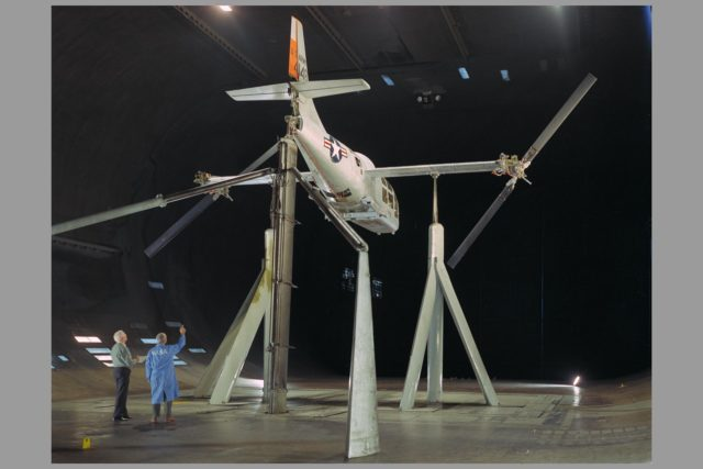 XV-3 in Ames Reseach Center 40x80ft wind tunnel; Rotor dynamic stability tests ARC-1966-A-37006-6
