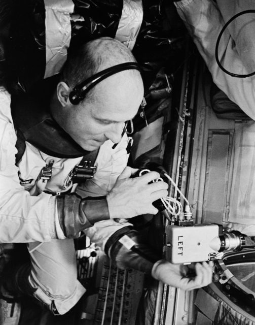 Astronaut Thomas Stafford training in equipment repair before mission