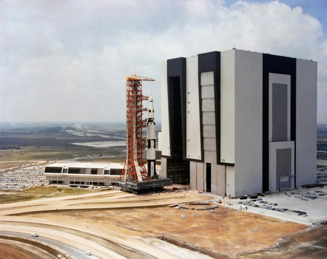 Apollo/Saturn V facilities Test Vehicle and Launch Umbilical Tower