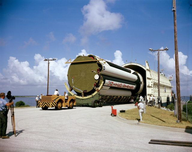 APOLLO/SATURN (A/S) 204 - SATURN V THIRD STAGE(S-IVB) ARRIVAL  - BARGE PROMISE - CAPE