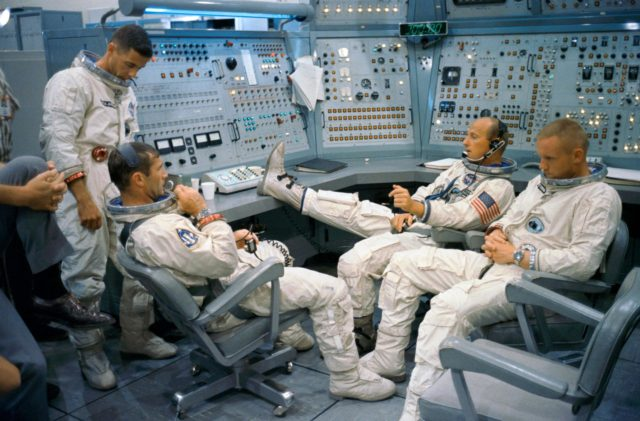 Gemini 11 prime and back-up crews at Gemini Mission Simulator at Cape Kennedy